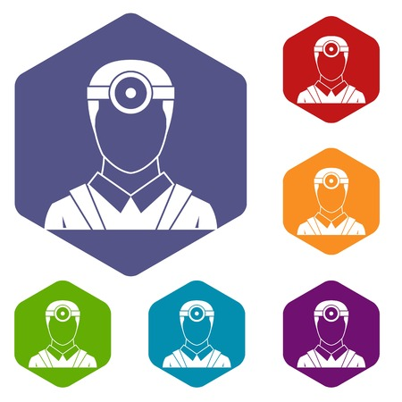 ophthalmologist: Ophthalmologist with head mirror icons set