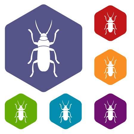 Beetle bug icons set