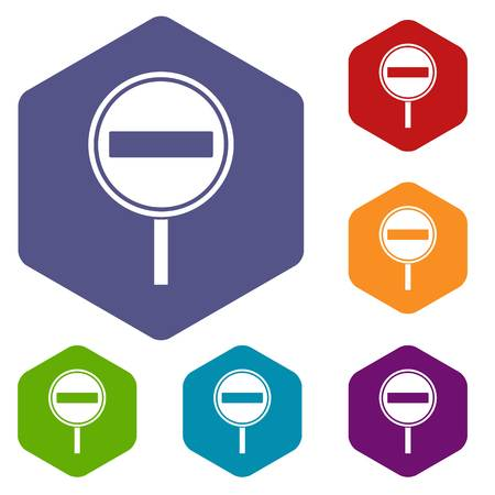 No entry sign icons set