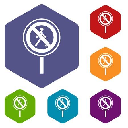 dont walk: No pedestrian sign icons set