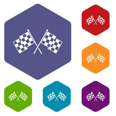 Checkered racing flags icons set Illustration