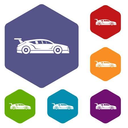 racecar: Rally racing car icons set