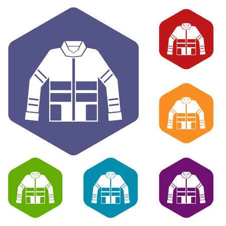 disaster preparedness: Firefighter jacket icons set