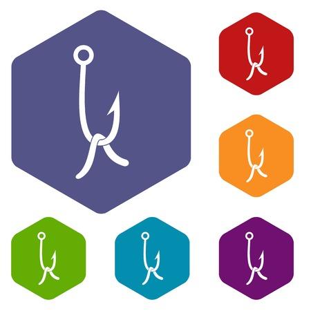 fishhook: Fish hook with earthworm icons set Illustration