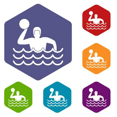 water polo: Water polo icons set