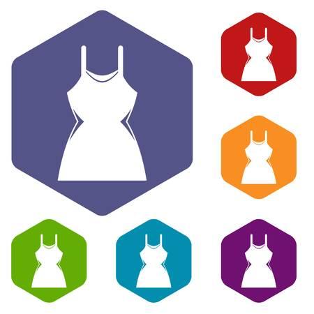 Little dress icons set Illustration