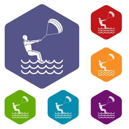 kite surf: man takes part at kitesurfing icons set