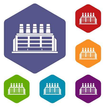 powerhouse: Manufacturing factory building icons set Illustration