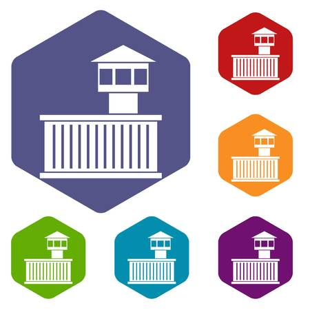 detainee: Prison tower icons set