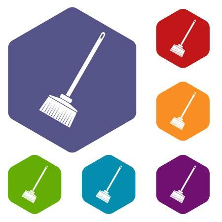 Broom icons set Illustration