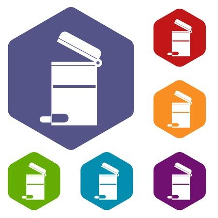 trashcan: Steel trashcan icons set