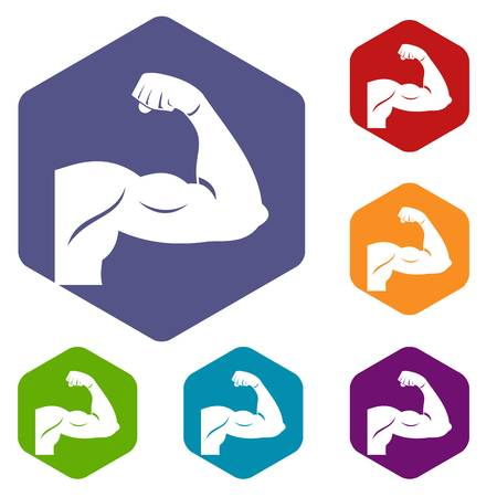 woman arms up: Biceps icons set