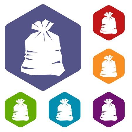 garbage bag: Garbage bag icons set