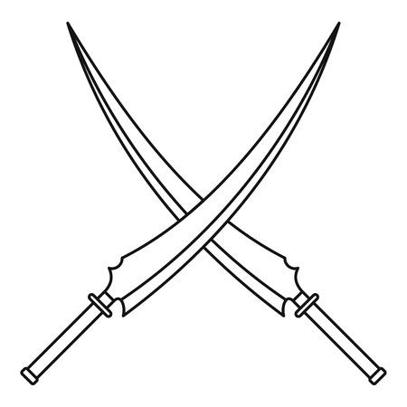 scimitar: Japanese samurai swords icon, outline style