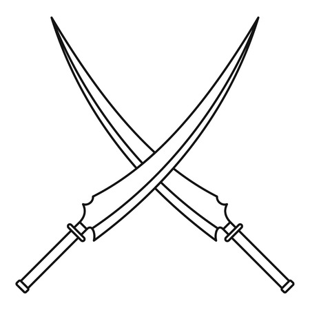 Japanese samurai swords icon, outline style
