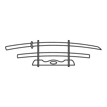 katana: Katana weapon icon, outline style