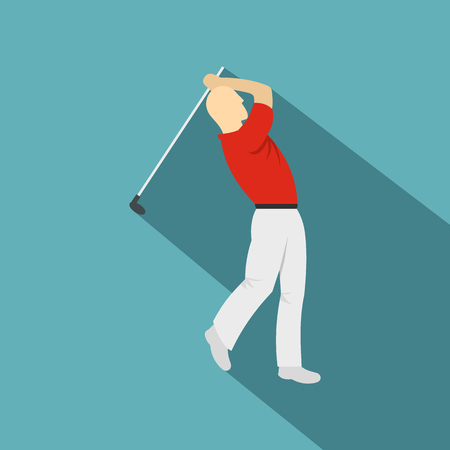 golfer swinging: Golf player in a red shirt icon, flat style Illustration