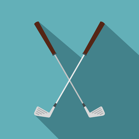 Crossed golf clubs icon, flat style Illustration