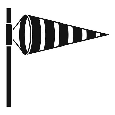 Meteorology windsock inflated by wind icon Illustration