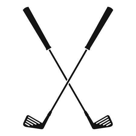 Deux clubs de golf icône, style simple