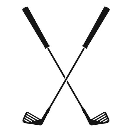 Two golf clubs icon, simple style Illustration