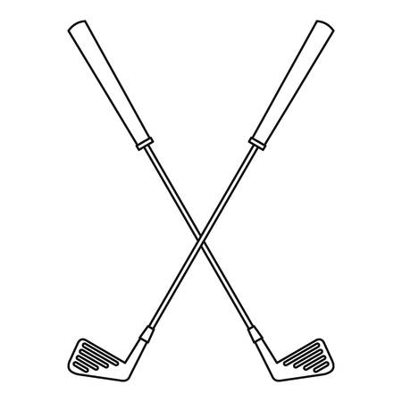 Golf clubs icon, outline style