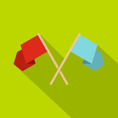 Red and blue crossed flags icon, flat style
