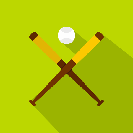 batters: Baseball bats and baseball icon, flat style Illustration
