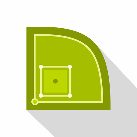 outfield: Green baseball field icon, flat style Illustration
