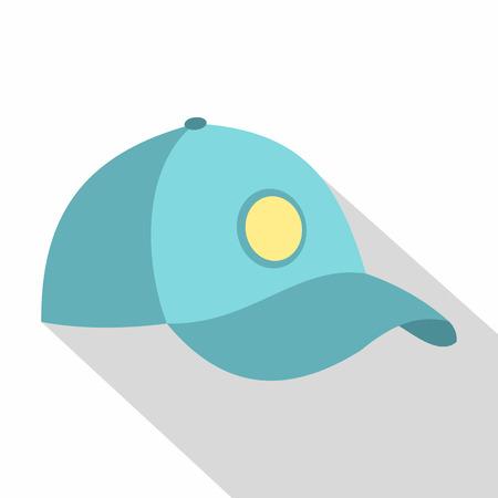 Blue baseball cap icon, flat style