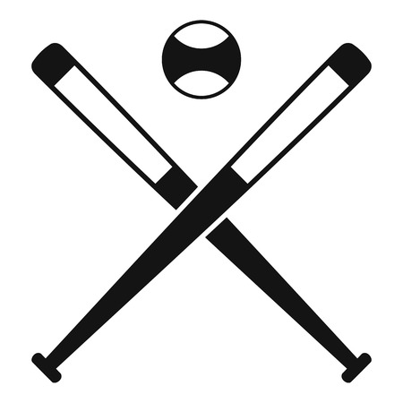 Crossed baseball bats and ball icon, simple style