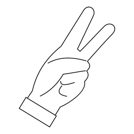 raise the thumb: Hand with two fingers icon, outline style Illustration
