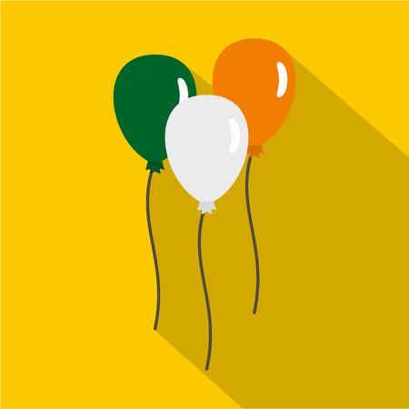 irish flag: Balloons in Irish flag colors icon, flat style