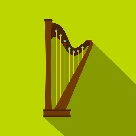 Wooden harp icon, flat style