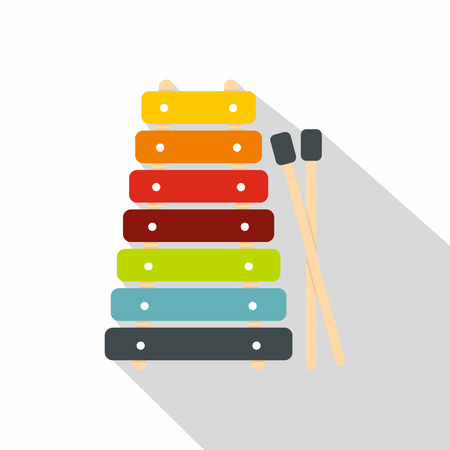 Colorful xylophone toy and sticks icon, flat style