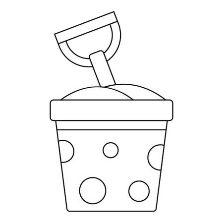 bucket and spade: Toy bucket and spade icon, outline style Illustration