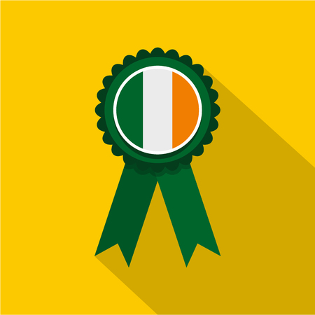 St Patrick day rosette icon, flat style