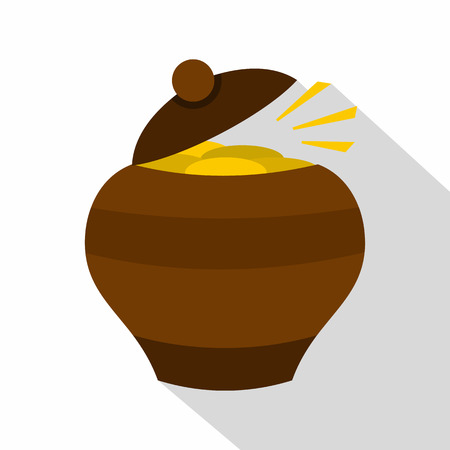 Clay pot full of gold coins icon, flat style