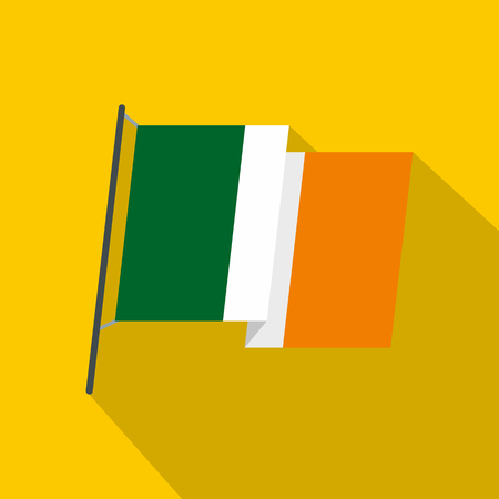 Waving flag of Ireland icon, flat style