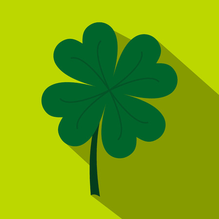 Four leaf clover icon, flat style