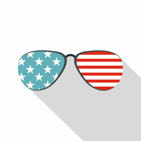 American glasses icon , flat style