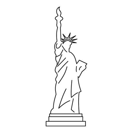 Standbeeld van vrijheid pictogram, schets stijl Stock Illustratie