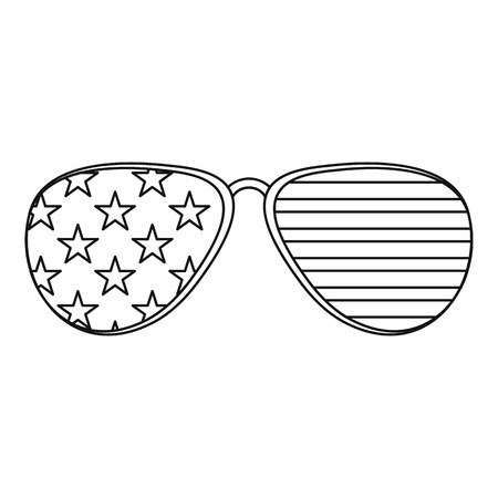 American glasses icon , outline style