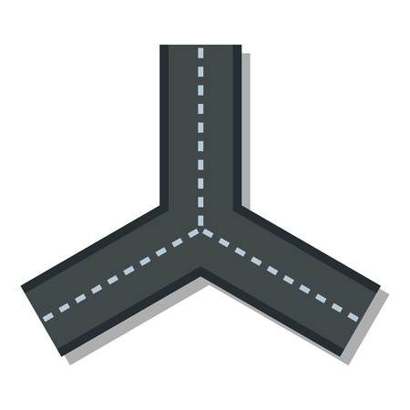 junction: Three roads icon. Flat illustration of three roads vector icon for web