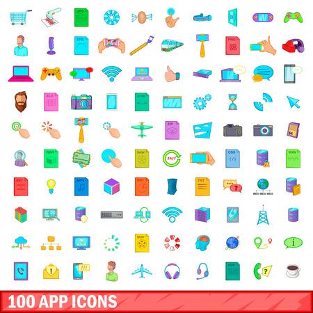 comunication: 100 app icons set, cartoon style Illustration