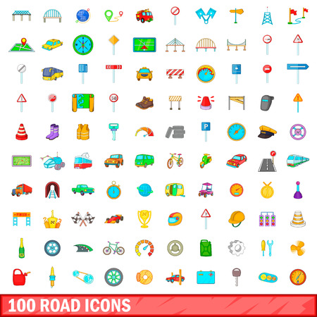 magnyfying glass: 100 road icons set in cartoon style for any design vector illustration