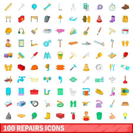 hand trowel: 100 repairs icons set in cartoon style for any design vector illustration