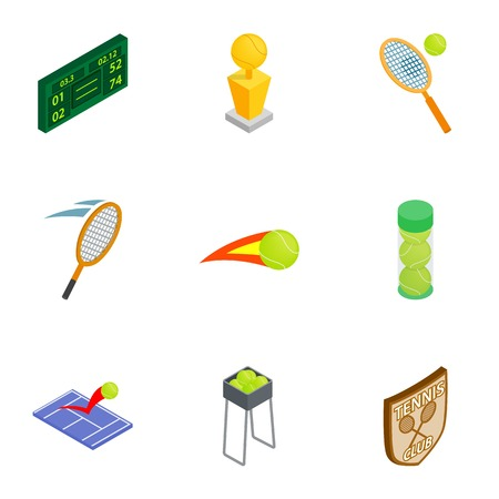 Tennis elements icons set, isometric 3d style