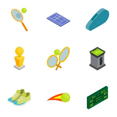 Tennis icons set, isometric 3d style Illustration