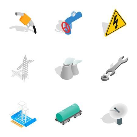 Power generation icons set, isometric 3d style